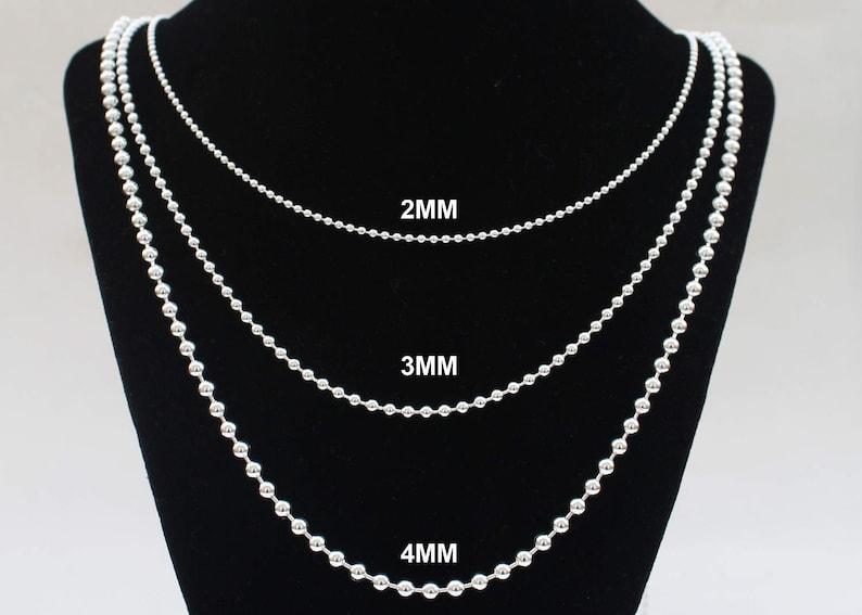 6a8ec39b01 Mens Silver Chain Ball Chain 12 14 16 18 20 22 24 30 36 inch   Etsy