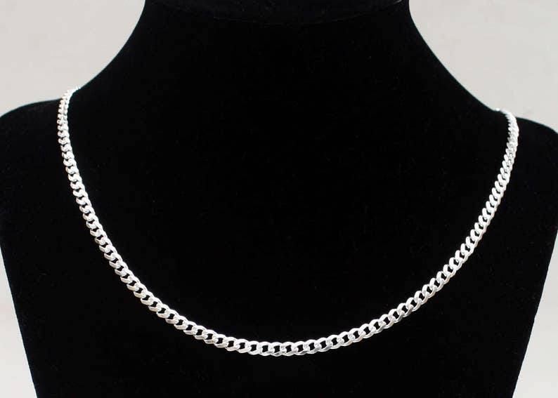 Mens Silver Curb Chain Sterling Silver Necklace Silver Chain Thick Curb Chain 18 20 22 24 inch 3.8mm width Free Shipping Dog Tag Chain