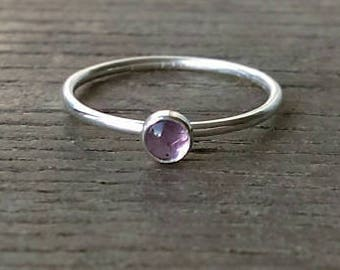 Amethyst Ring, 4mm Amethyst Stone Stacking Ring, Silver Ring, Stackable, Stacker, Gemstone Ring, Stacker, Dainty Ring