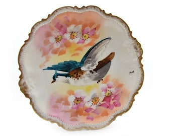 Bird Motif Printed Sparrow Plate Painted Limoges Plate with Stand French Plate Hand Painted Collectible Plates Wall Hangings