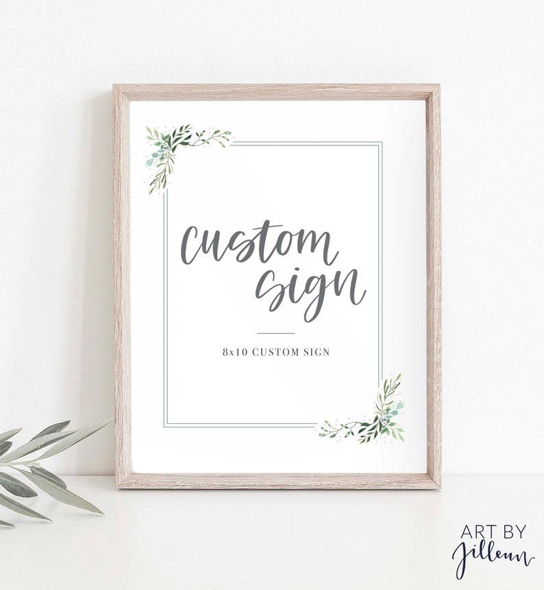 Printable Personalized Sign Printable Botanical Custom Sign w Greenery Framing