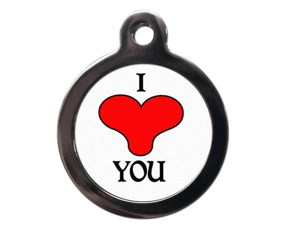 Je vous le coeur Tag pour animaux de compagnie - je t'aime ID Tags - chien chat nom adresse Tags - texte personnalisé gratuit sur l'envers