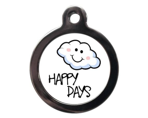 Animal drôle Tags - étiquette d'identification pour animaux de compagnie Happy Days nuageux - chien chat identité Tags - texte personnalisé gratuit sur l'envers