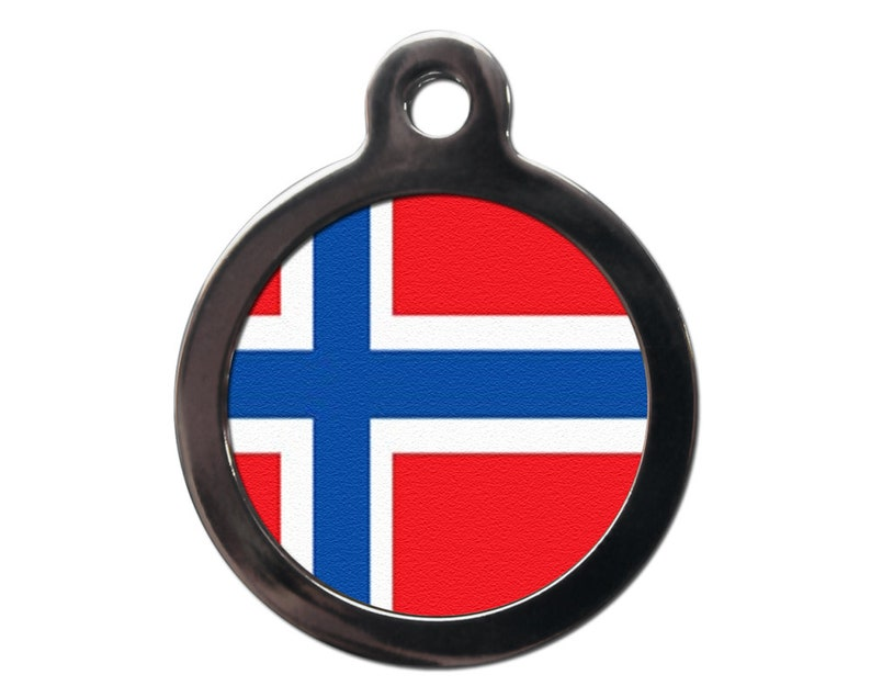 Flag of Norway Pet Tag - Norwegian Flag ID Tags - Custom Dog Cat Tags -  FREE Personalized Text On Reverse - Pet Identification-Dog Name Tags
