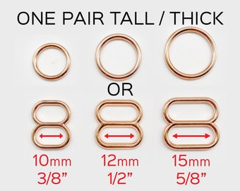 """Set of 2 Thicker Rings OR 2 Tall Thick Sliders in Rose Gold for Swimwear or Bra making- 3/8""""/10mm, 1/2""""/12mm, 5/8""""/15mm"""