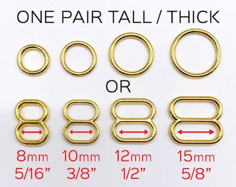 """Set of 2 Thicker Rings OR 2 Tall Thick Sliders in Gold for Swimwear or Bra making- 5/16""""/8mm, 3/8""""/10mm, 1/2""""/12mm, 5/8""""/15mm"""