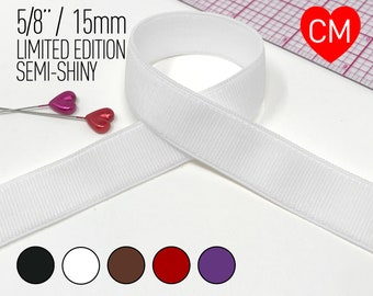 "5/8"" (15mm) Semi Shiny Satin Strapping Elastic, Bra Strap- 5 Yards LIMITED EDITION"