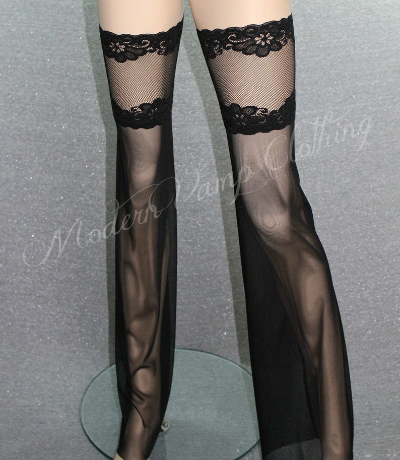 9cb97ba5c4b Flare Leg Thigh Tops   Mesh   Lace Flared Stockings   Sexy