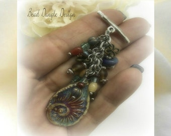 """Unique """"One of a kind"""" Handmade Polymer Clay Swirl, Tourmaline, Frosted Glass Beaded Pendant Charm Toggle Necklace"""