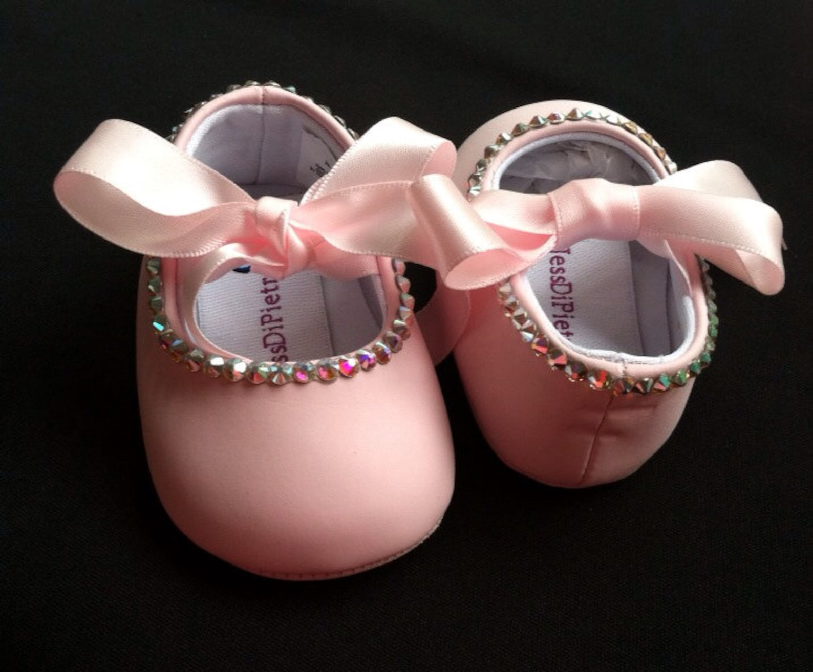 swarovski single outline infant ballet flats
