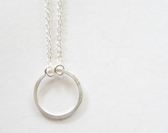 Silver Circle Necklace - Layering Necklace - Dainty Necklace - Minimalist Jewelry - Short Necklaces