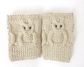 Owl Boot Cuffs, Owl Boot Socks, Boot Topper, Owl Leg Warmers in Cream Or Choose your color  Gift /   Christmas Mothers Day Gift