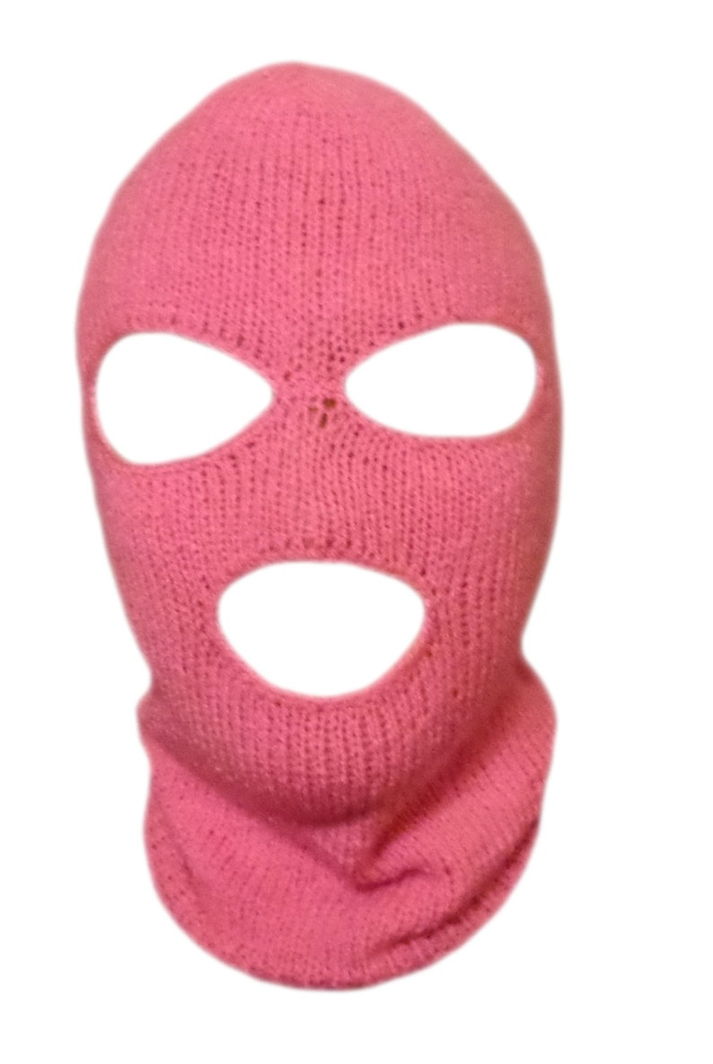 Knit Pink Ski Mask For Woman Handmade 3 Hole Halloween Mask  1dc13a499