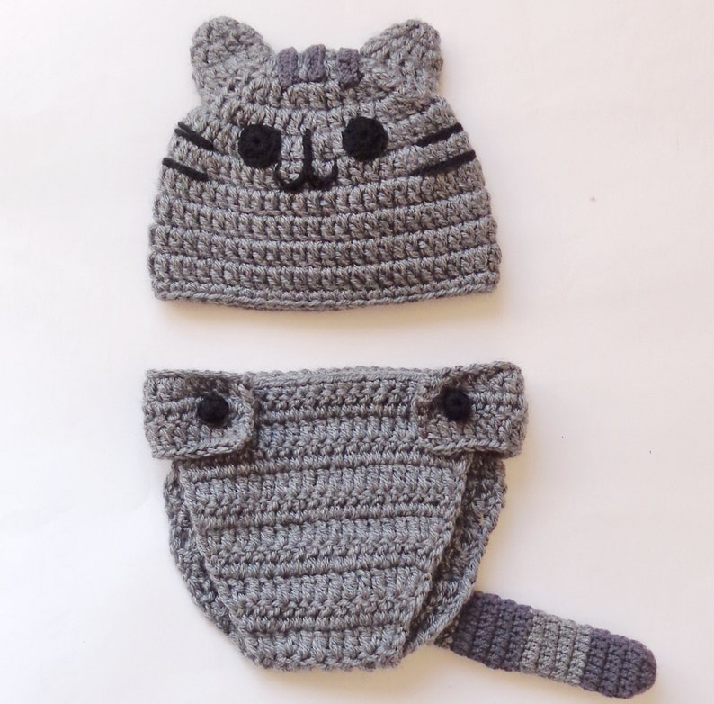 Pusheen Cat Hat   Beanie with Diaper Cover Newborn Child Teen Adult ... 064e2fc485a4