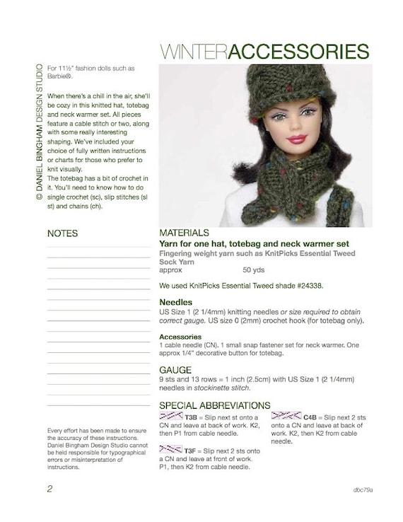 Knitting pattern for 11 1/2 doll Barbie: Winter | Etsy
