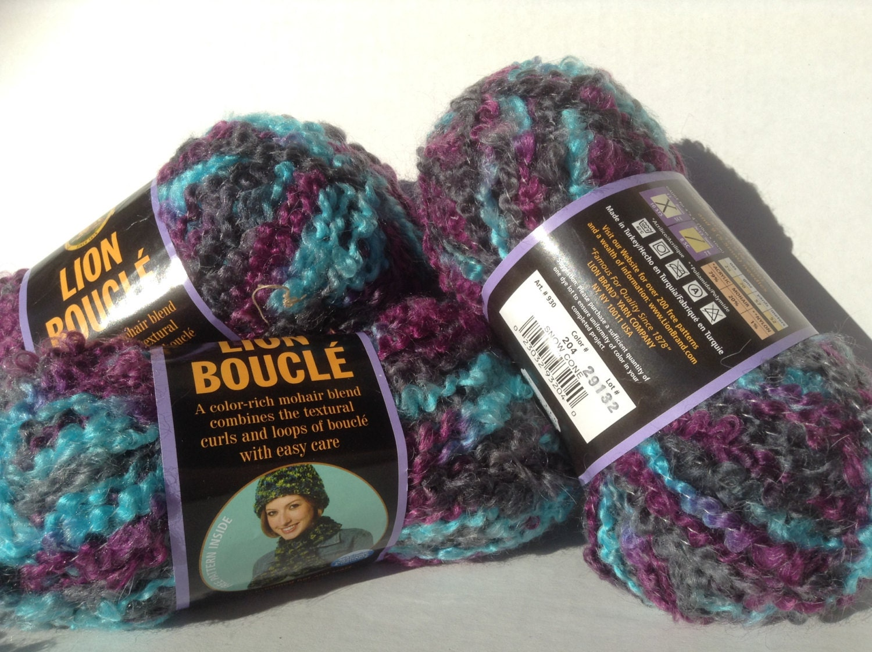 Lion Brand Yarns Lion Boucle Color Snow Cone Purple Etsy
