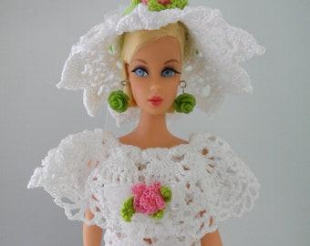 Barbie Bridal Gown Crochet Barbie Clothes Handmade 11.5