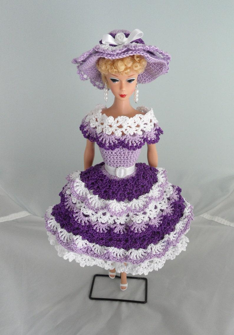 Crochet Barbie Clothes Handmade 50s Style Purple Ruffles