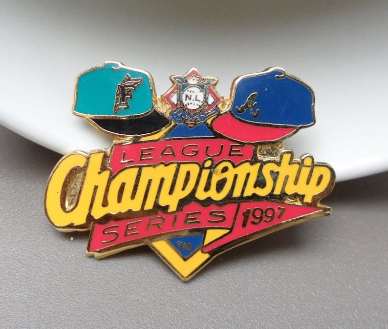 Mlb Pins Major League Baseball Memorabilia Miami Marlins Atlanta Braves Gifts For Men 1997 Championship Series Tie Tack Sports Lapel Pin