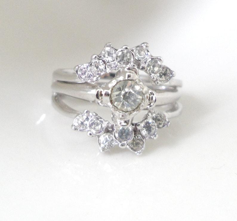 4d5d351755a78 14kt GE Espo Ring Diamante Ring Fake Wedding Ring Set Ring Guard White Gold  Plated Ring Enhancer Women Faux Diamond Ring Set Size 7.5