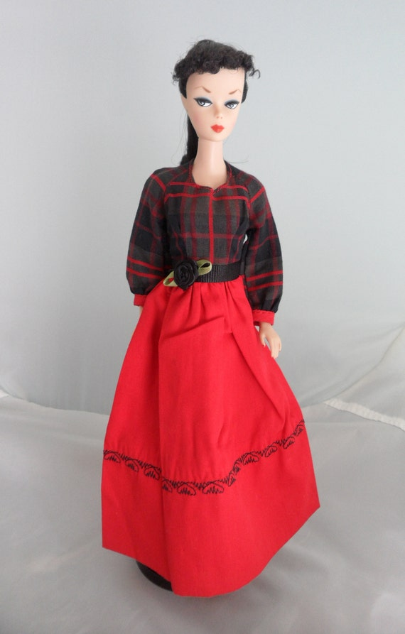 Vintage Barbie Clothes Red and Black Plaid Gown and Sash | Etsy