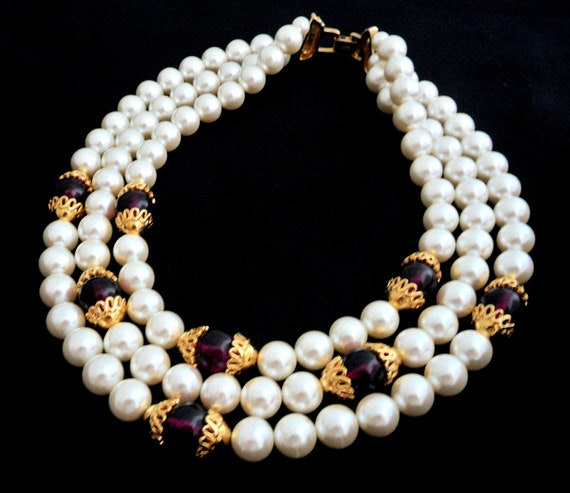 Huge Napier Signed 3 Strand Necklace White Faux Pe