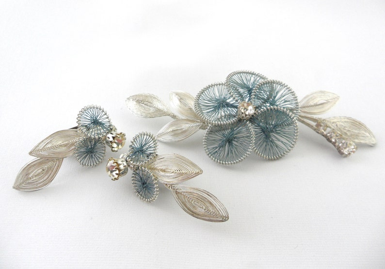 4 Inch Brooch Earrings Set 1950s Jewelry Set Teal and Silver 50s Wedding Something Old Blue for Bride 1.5 Inch Earring Austrian Wire Work