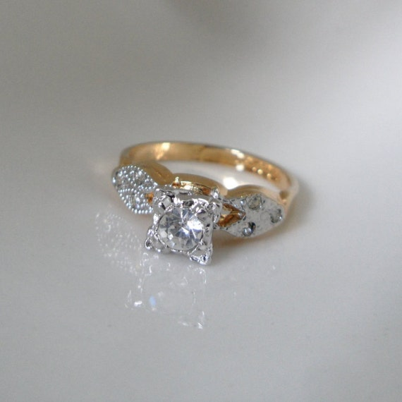 Nos Faux Diamond Ring Fake Engagement Ring Cheap Engagement Etsy