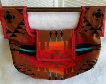 Beautiful Native American Print Canvas Purse