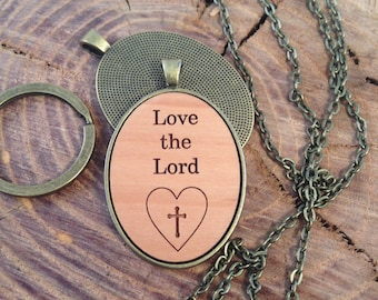 Love the Lord - heart cross necklace pendant jewelry is laser wood engraved cabochon pendent or keychain necklace free shipping w/ purchase
