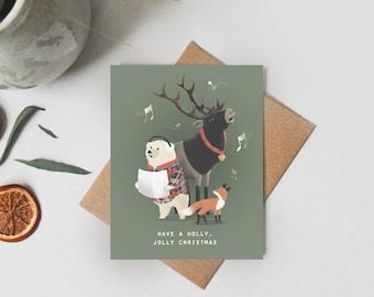 Set of 8 Christmas Cards - Illustrated Holiday Cards - Christmas Gift - Holiday Gift - Card Set Blank Set - Christmas Card Set