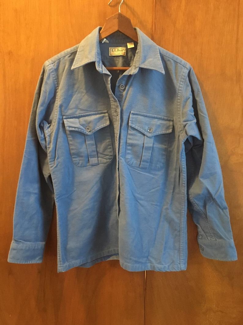 VTG LL BEAN Chamois Shirt Size 10 Small Light Blue Excellent