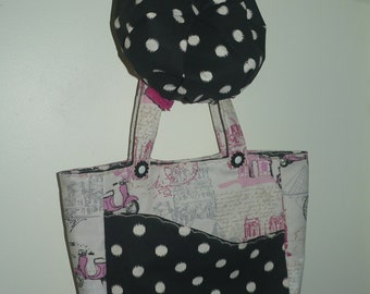 French shopping bag and matching hat set Eiffel tower and polka dots