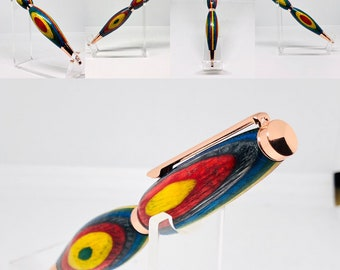 Handmade | wood | slimline | rainbow | unique | pen