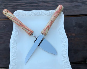 Hand made | flaming box elder | wood | wedding cake serving set