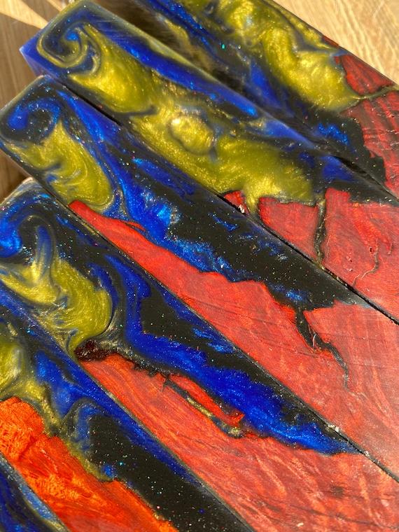 Hybrid resin burl pen blanks