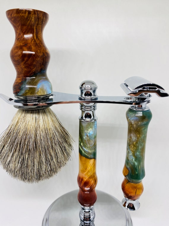Diamond infused hybrid manzanita burl shaving set.