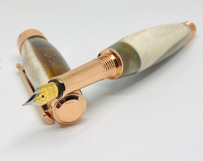 Hand Made | Blacktail Deer Antler | Custom Color | Epoxy resin | Hybrid | Fountain Pen