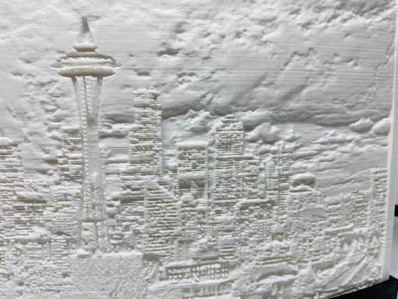 3dprinted lithophane Seattle skyline at night.