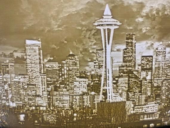 3dprinted lithophane Seattle skyline at night.