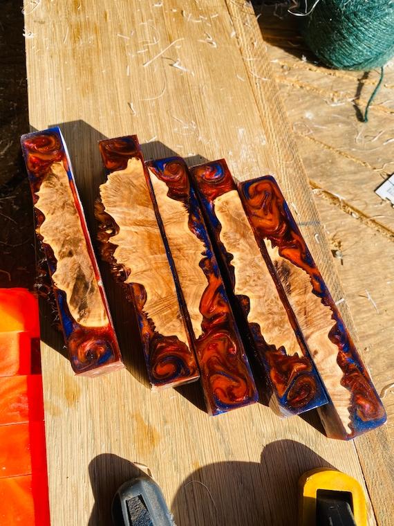 Hybrid burl resin pen blanks