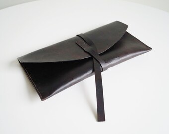 Leather Case with Strap Leather Envelope Bag Leather Clutch Leather Travel Envelope Leather Evening Bag