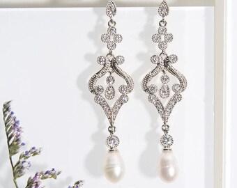Bridal Earrings pearl Drop Bridal Earring Drops Art Deco Bridal Earrings Wedding Earrings Bridesmaid Earrings Bridal Earrings Silver E208-S