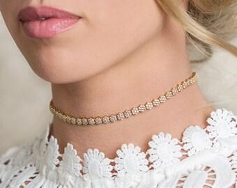 Gold Crystal Choker, Bridal Jewelry, Wedding Jewelry, Gold Choker, Bridal Choker, Crystal Necklace, Wedding Accessories, Gold Choker, N069-G