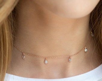 Rose Gold Choker, Dangle Choker, Dainty Crystal Choker, Bridal Necklace, Bridal Choker, Wedding Jewelry, Bridal Jewelry, N354-RG
