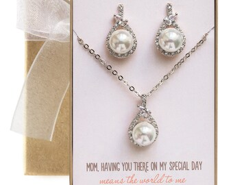 Mother of Bride Gift, Mother of the Groom Gift, Pearl Jewelry Set, Necklace and Earring Set, Pearl Earrings, Pearl Necklace, N533-SD
