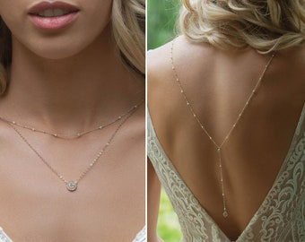 Pearl Back Necklace, Bridal Jewelry, Backdrop Necklace, Wedding Jewelry, Back Necklace Wedding, NB084