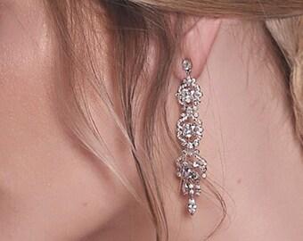 Bridal Earrings Vintage Bridal Jewelry Wedding Earrings Silver Earrings Crystal Bridal Earrings Long Drop Earrings Bridal Accessories E118-S