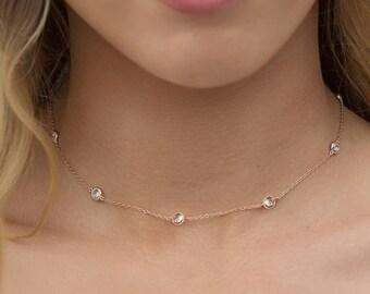 Crystal Choker Necklace, Rose Gold Choker, Bridal Choker, Bridal Jewelry, Dainty Choker, Wedding Accessories, Wedding Jewelry, N062-RG