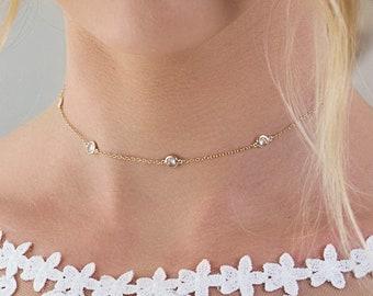 Gold Choker, Bridal Jewelry, Dainty Bridal Choker, Wedding Jewelry, Bridal Accessories, Dainty Bridal Jewelry, Crystal Choker, N062-G
